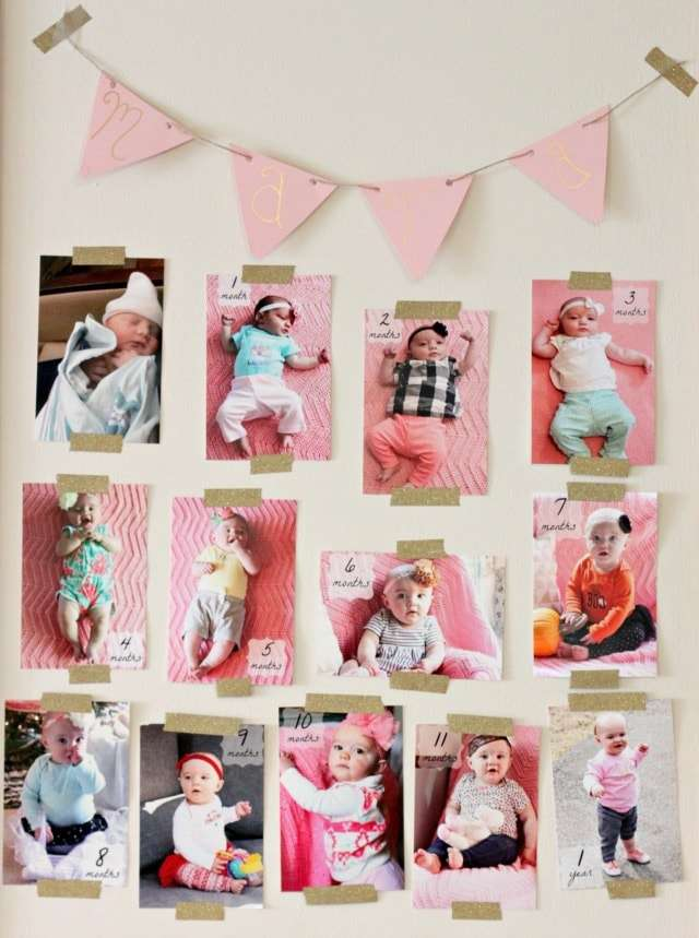 first birthday monthly photo display