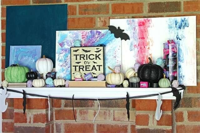 candy Halloween mantel
